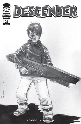 Descender #25 (B&W Walking Dead #104 Tribute Cover)