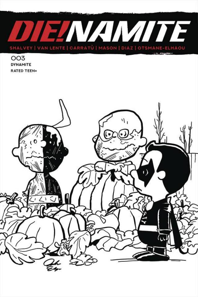 DIE!namite #3 (7 Copy Peanuts Homage Line Art Cover)