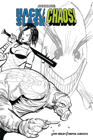 Hack/Slash vs. Chaos! #1 (30 Copy Strahm B&W Cover)