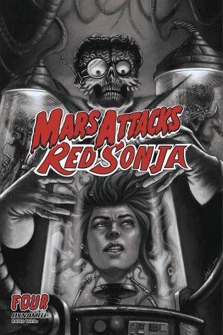 Mars Attacks / Red Sonja #4 (7 Copy Strati B&W Cover)