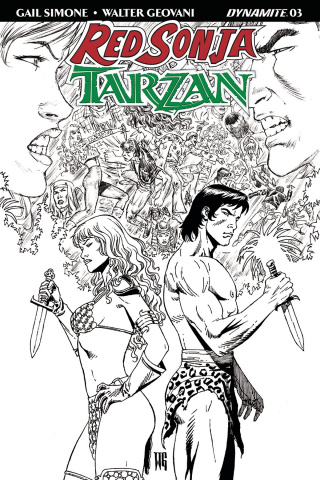 Red Sonja / Tarzan #3 (10 Copy Geovani B&W Cover)