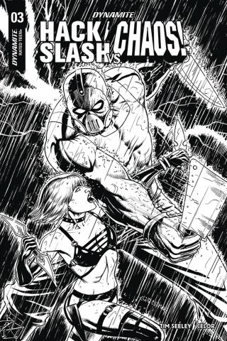 Hack/Slash vs. Chaos! #3 (10 Copy Cermak B&W Cover)