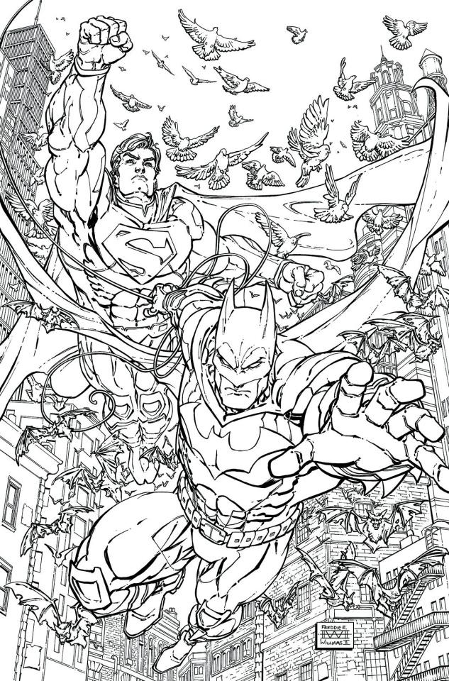 Batman / Superman #28 (Adult Coloring Book Cover)