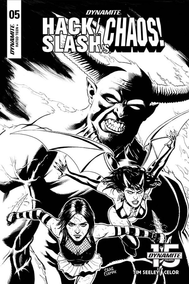Hack/Slash vs. Chaos! #5 (10 Copy Cermak B&W Cover)