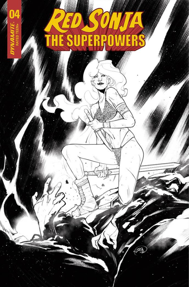 Red Sonja: The Superpowers #4 (7 Copy Pinna B&W Cover)