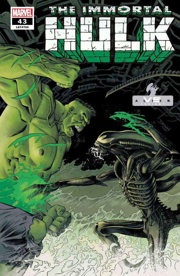 The Immortal Hulk #43 (Shalvey Marvel vs. Alien Cover)