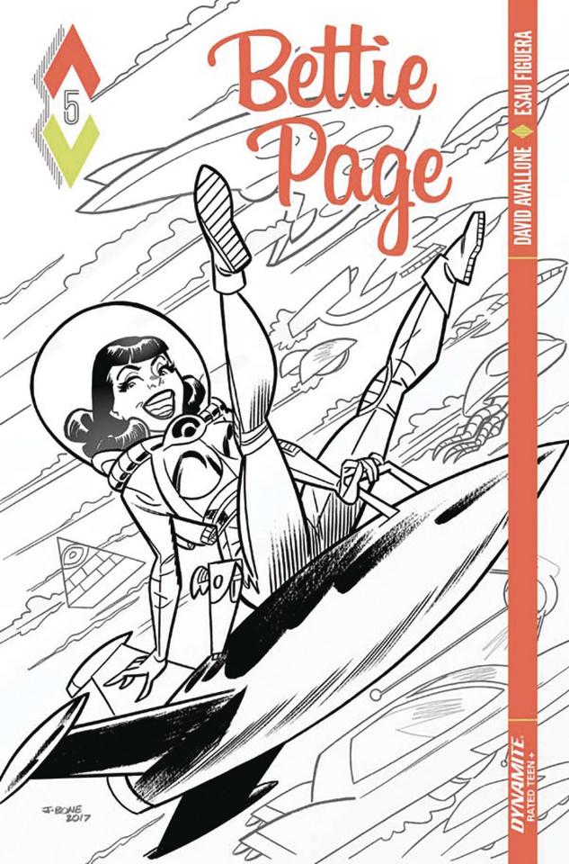 Bettie Page #5 (10 Copy Bone B&W Cover)