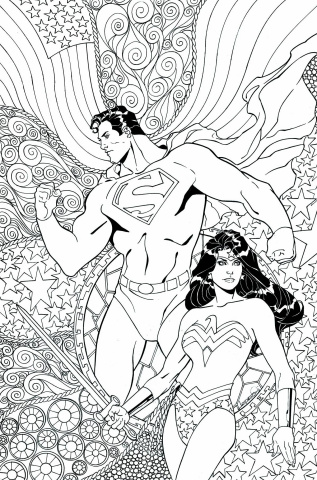 Superman / Wonder Woman #25 (Adult Coloring Book Cover)