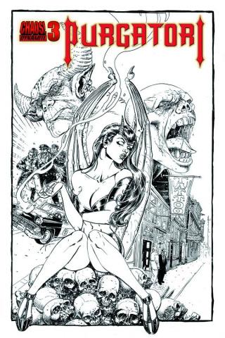 Purgatori #3 (25 Copy Chin B&W Cover)