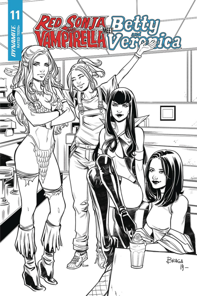 Red Sonja and Vampirella Meet Betty and Veronica #11 (20 Copy Braga B&W Cover)