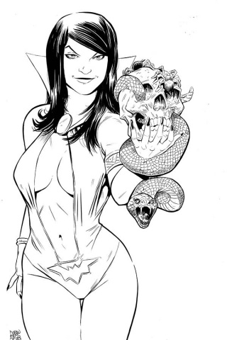 Vampirella / Red Sonja #5 (11 Copy Moss B&W Virgin Cover)