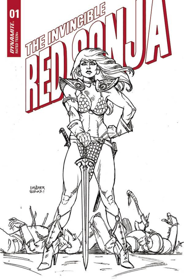 The Invincible Red Sonja #1 (25 Copy Linsner Line Art Cover)