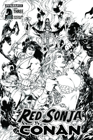 Red Sonja / Conan #3 (15 Copy Benes B&W Cover)