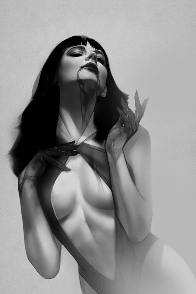 Vengeance of Vampirella #4 (21 Copy Oliver B&W Virgin Cover)