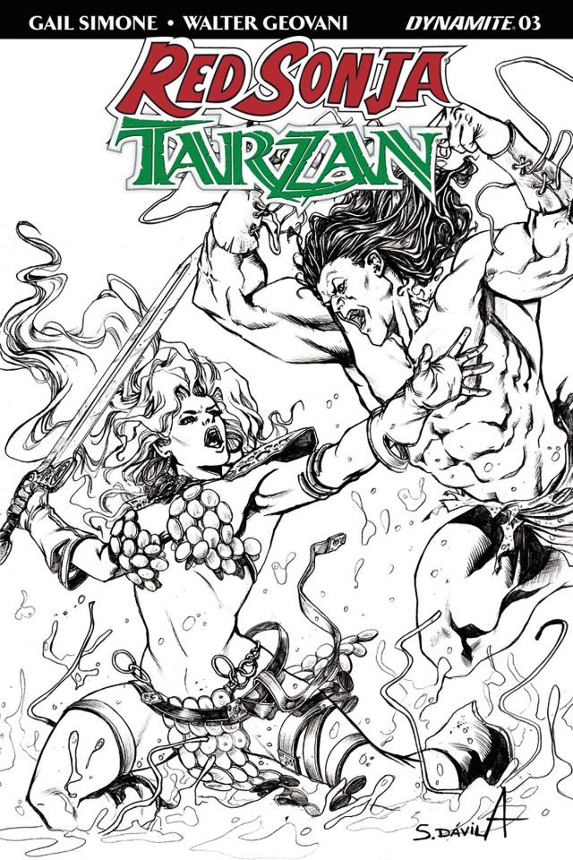Red Sonja / Tarzan #3 (20 Copy Davila B&W Cover)