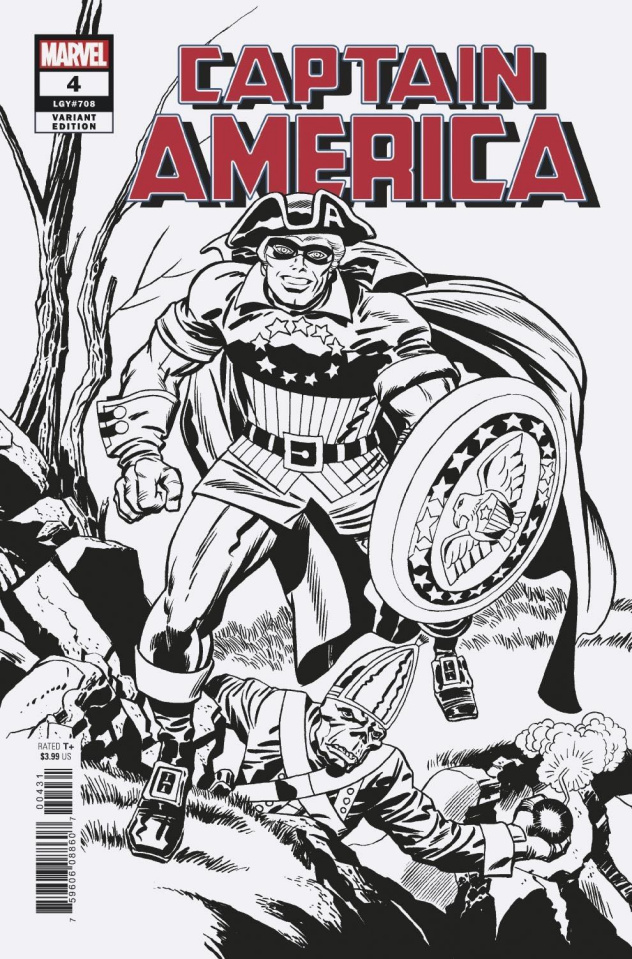 Captain America #4 (Kirby Remastered B&W Cover)