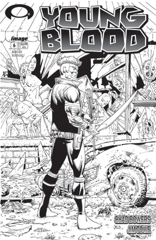 Youngblood #6 (B&W Walking Dead #1 Tribute Cover)