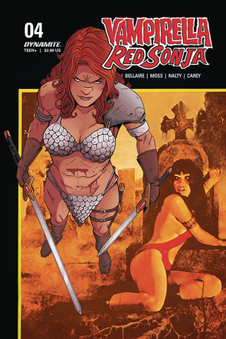 Vampirella / Red Sonja #4 (Moss Then and Now Cover)