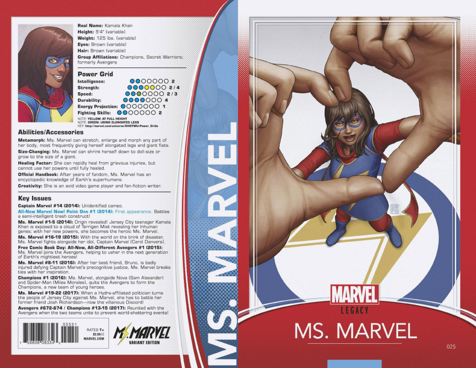 Ms. Marvel #25 (Christopher Trading Card Cover)