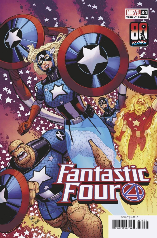 Fantastic Four #34 (Bradshaw Captain America 80th Anniversary Cover)
