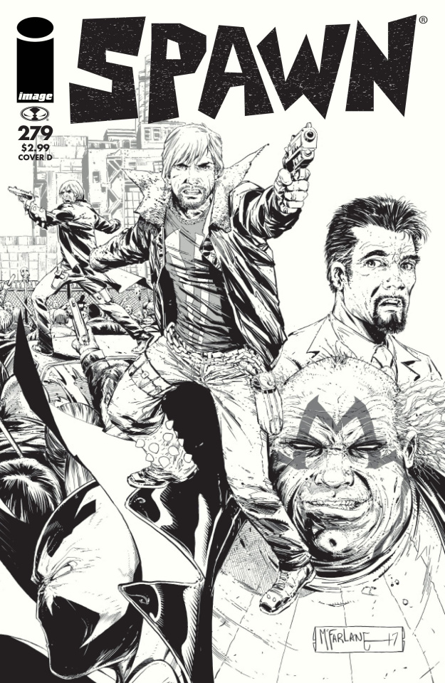 Spawn #279 (B&W Walking Dead Tribute #115 Cover)