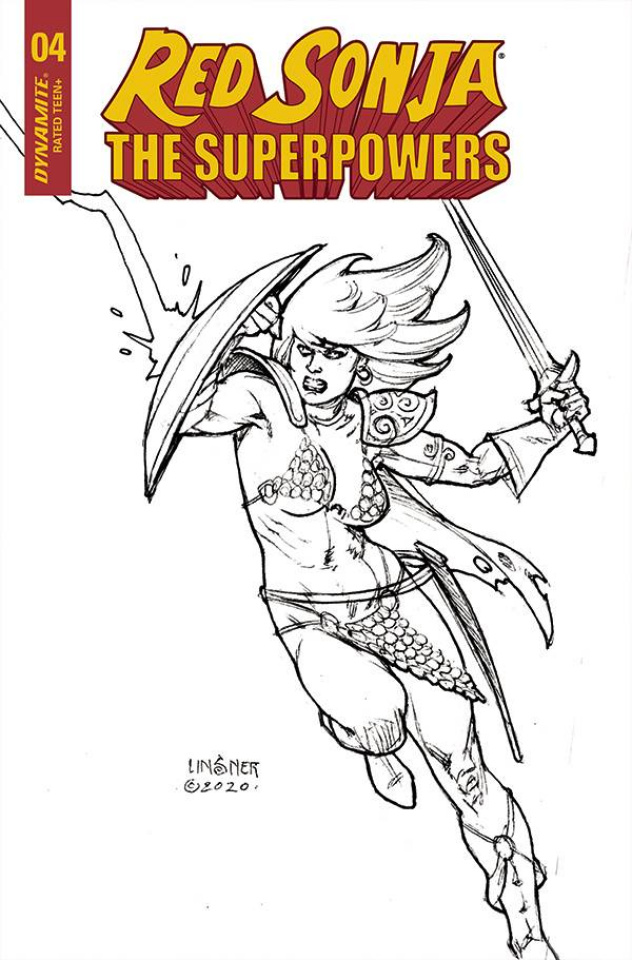 Red Sonja: The Superpowers #4 (20 Copy Linsner B&W Cover)