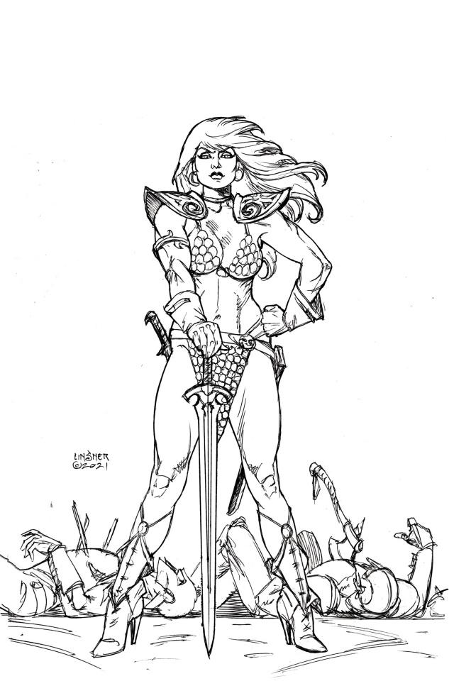 The Invincible Red Sonja #1 (50 Copy Linsner Line Art Virgin Cover)