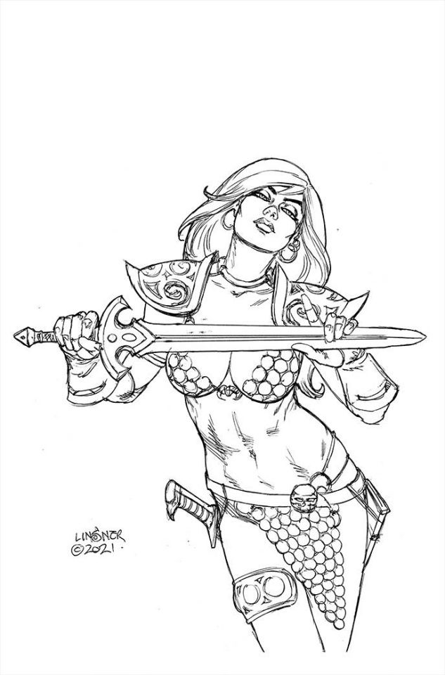 The Invincible Red Sonja #3 (50 Copy Linsner Line Art Cover)