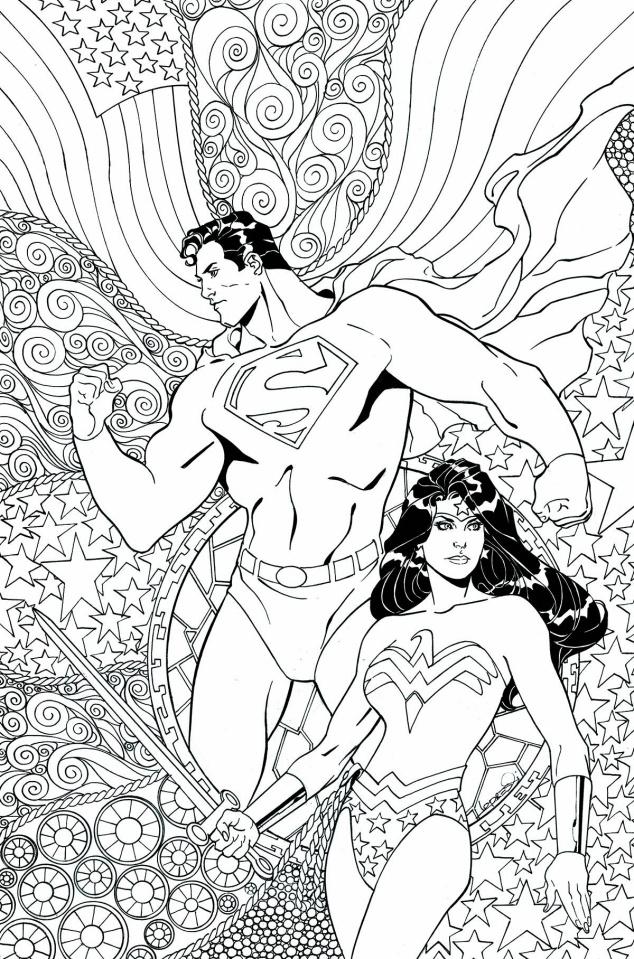 Superman / Wonder Woman #25 (Adult Coloring Book Cover)