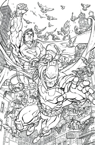 Batman / Superman #28 (Adult Coloring Book Cover)