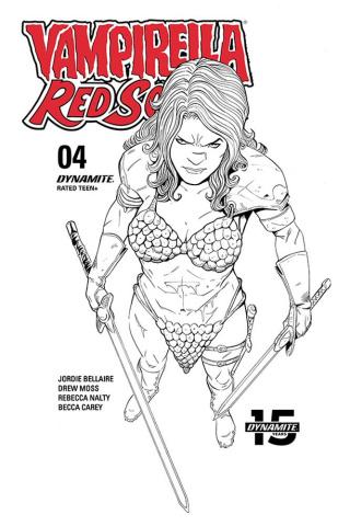 Vampirella / Red Sonja #2 (10 Copy Moss B&W Cover)