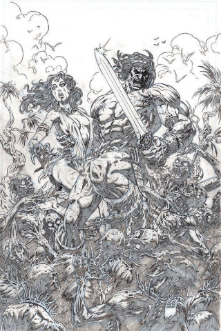 The Cimmerian: Iron Shadows in the Moon #1 (20 Copy Level B&W Line Art Cover)