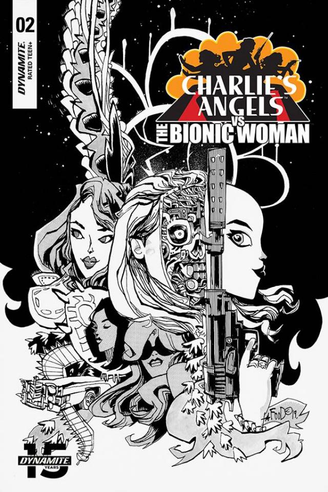 Charlie's Angels vs. The Bionic Woman #2 (Mahfood B&W Cover)