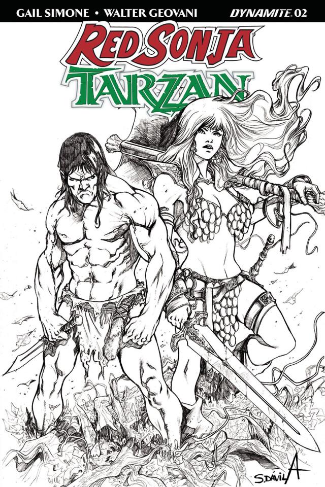 Red Sonja / Tarzan #2 (20 Copy Davila B&W Cover)