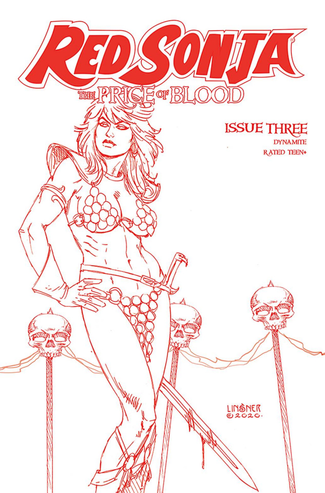 Red Sonja: The Price of Blood #3 (Linsner Crimson Red Line Art Cover)