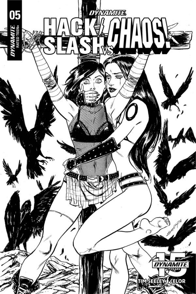 Hack/Slash vs. Chaos! #5 (25 Copy Seeley B&W Cover)