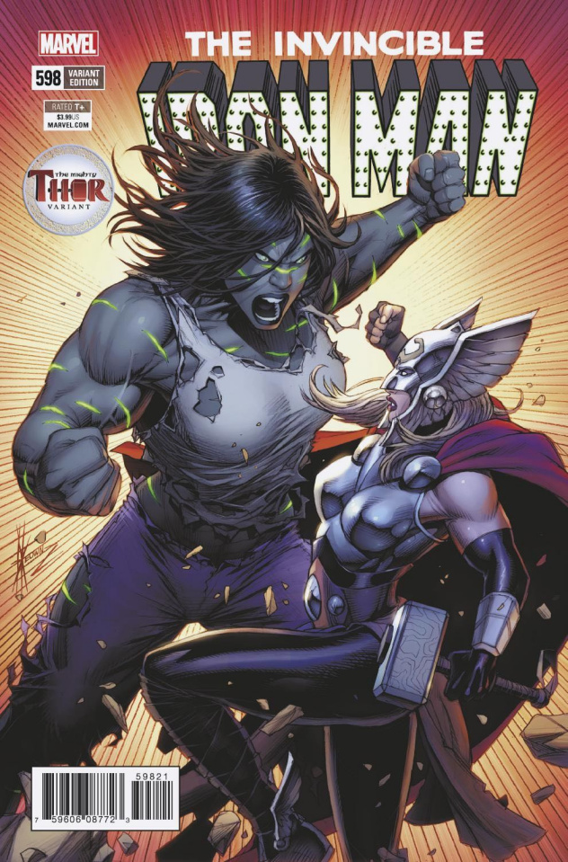Invincible Iron Man #598 (Keown Mighty Thor Cover)