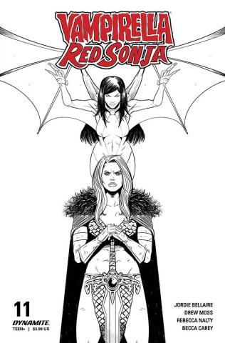 Vampirella / Red Sonja #11 (10 Copy Moss B&W Cover)