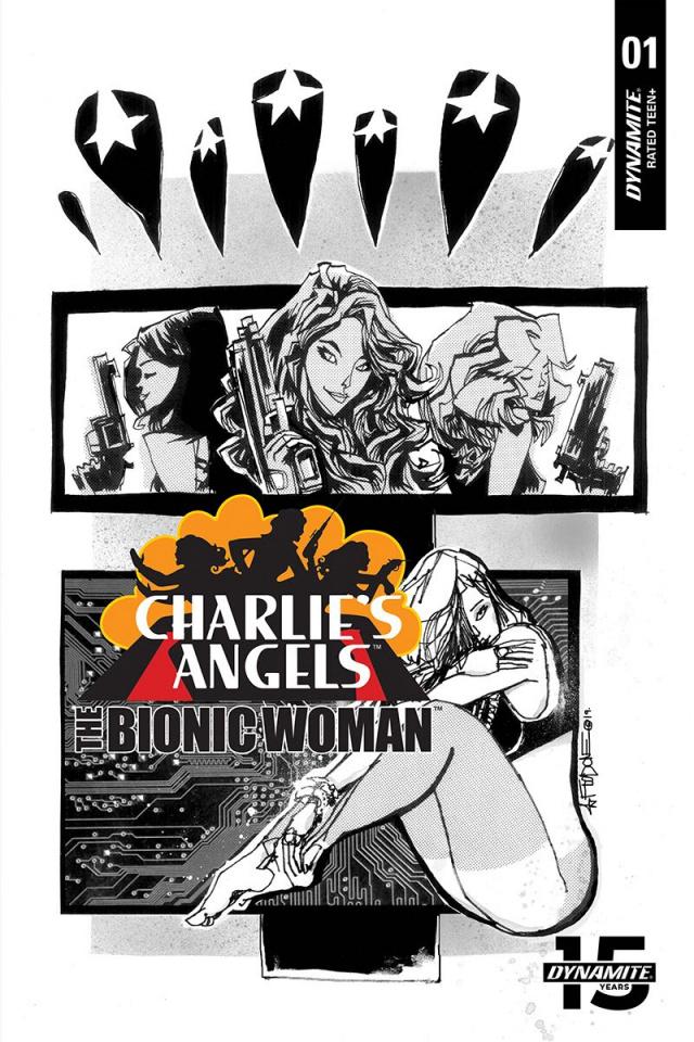 Charlie's Angels vs. The Bionic Woman #1 (10 Copy Mahfood B&W Cover)