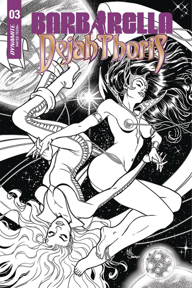 Barbarella / Dejah Thoris #3 (50 Copy Sanapo B&W Cover)