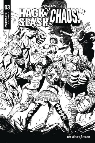 Hack/Slash vs. Chaos! #3 (25 Copy Seeley B&W Cover)