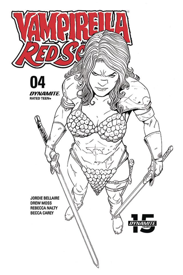 Vampirella / Red Sonja #4 (10 Copy Moss B&W Cover)
