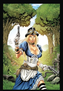 Grimm Fairy Tales: Steampunk Alice in Wonderland Coloring Book Edition