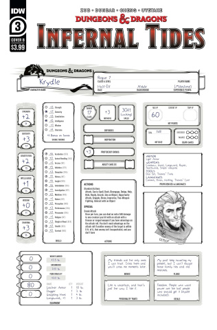 Dungeons & Dragons: Infernal Tides #3 (Character Sheet Cover)