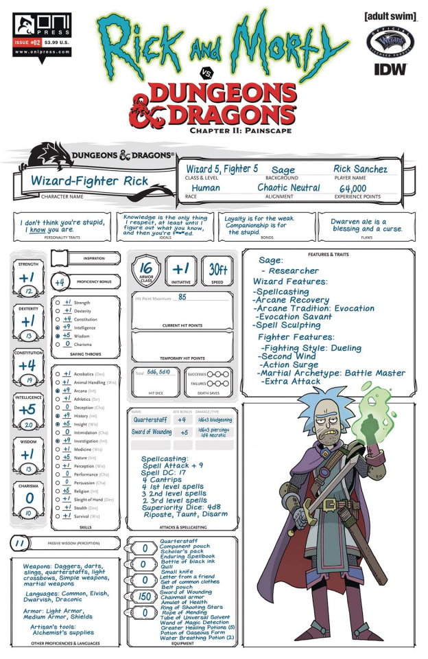 Rick and Morty vs. Dungeons & Dragons II: Painscape #2 (Look Character Sheet Cover)