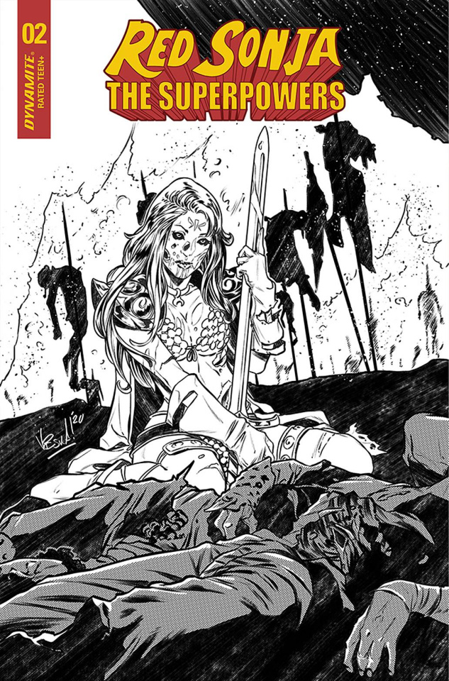 Red Sonja: The Superpowers #2 (30 Copy Federici B&W Cover)