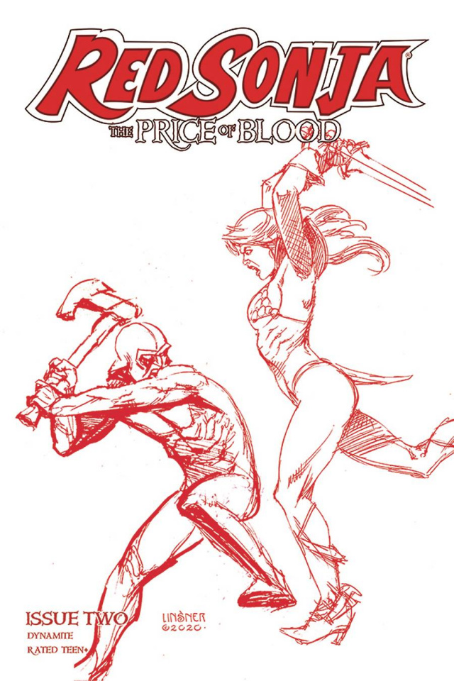 Red Sonja: The Price of Blood #2 (Linsner Crimson Red Line Art Cover)