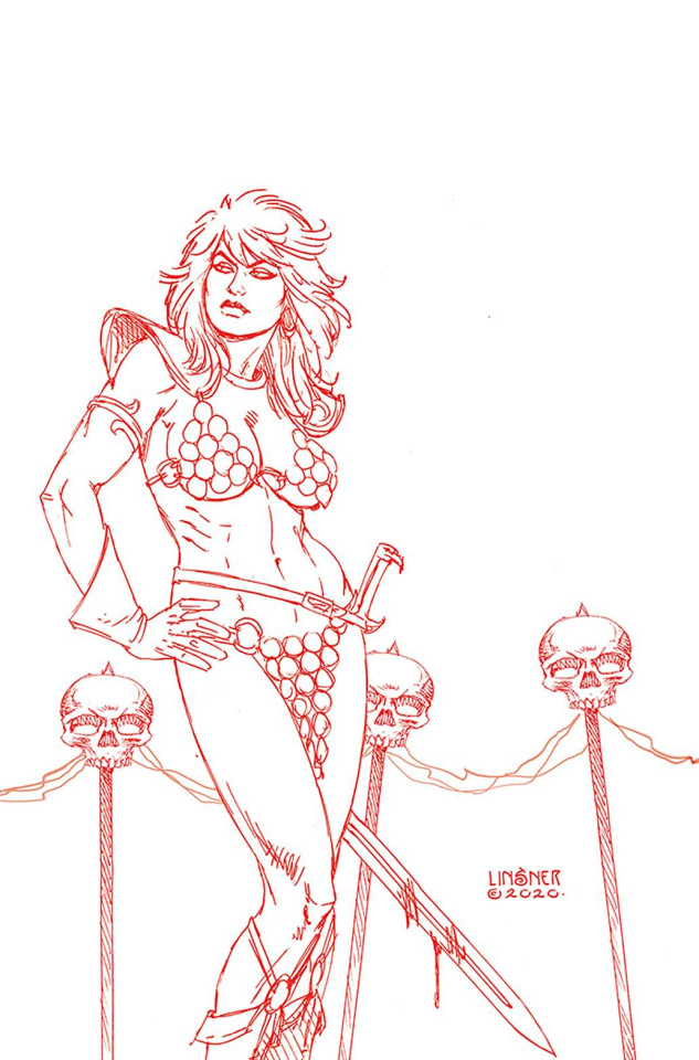 Red Sonja: The Price of Blood #3 (Linsner Crimson Red Line Art Virgin Cover)