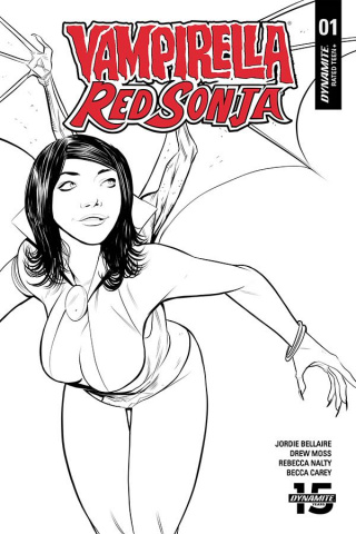 Vampirella / Red Sonja #1 (10 Copy Moss B&W Cover)