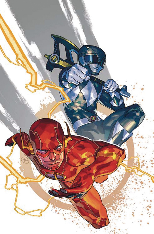 Justice League / Power Rangers #1 (The Flash / Black Ranger Cover)
